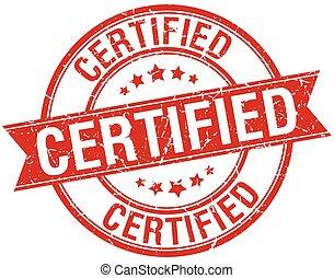 grunge, francobollo, isolato, rosso, certificato, nastro, retro