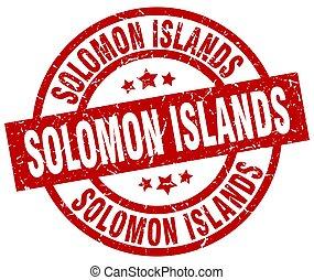 grunge, francobollo, isole solomon, rotondo, rosso