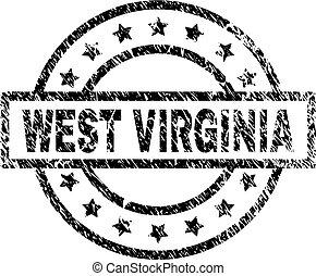 grunge, francobollo, ovest, textured, sigillo virginia