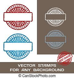 grunge, francobollo, set., illustrazione, template., gomma, fondo., vettore, vuoto, qualsiasi