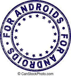 grunge, francobollo, sigillo, androids, textured, rotondo