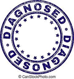 grunge, francobollo, textured, diagnosed, sigillo, rotondo