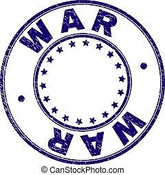 grunge, francobollo, textured, guerra, sigillo, rotondo
