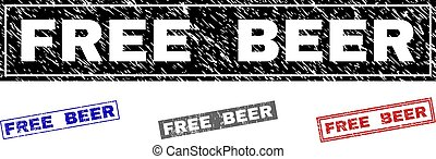 Grunge FREE BEER Textured Rectangle Stamp Seals