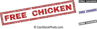 Grunge FREE CHICKEN Scratched Rectangle Stamp Seals
