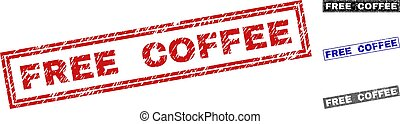 Grunge FREE COFFEE Textured Rectangle Stamps