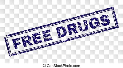 Grunge FREE DRUGS Rectangle Stamp