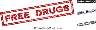 Grunge FREE DRUGS Textured Rectangle Watermarks