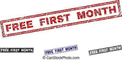 Grunge FREE FIRST MONTH Textured Rectangle Stamp Seals