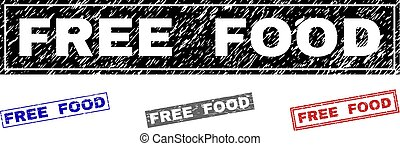 Grunge FREE FOOD Scratched Rectangle Stamps