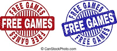 Grunge FREE GAMES Textured Round Stamp Seals