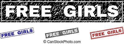 Grunge FREE GIRLS Scratched Rectangle Stamps