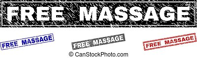 Grunge FREE MASSAGE Textured Rectangle Stamps