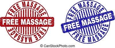 Grunge FREE MASSAGE Textured Round Stamps