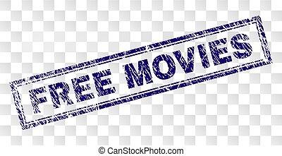 Grunge FREE MOVIES Rectangle Stamp