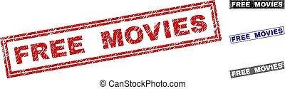 Grunge FREE MOVIES Scratched Rectangle Stamps