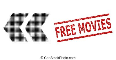 Grunge Free Movies Stamp and Halftone Dotted Shift Left - ...