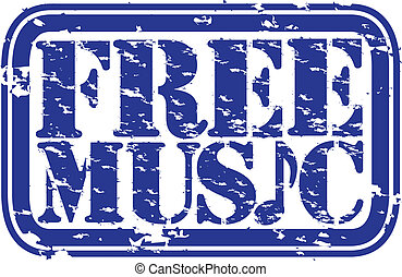 Grunge free music rubber stamp, vec