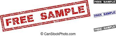 Grunge FREE SAMPLE Scratched Rectangle Stamp Seals