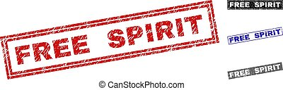 Grunge FREE SPIRIT Textured Rectangle Stamp Seals