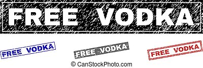 Grunge FREE VODKA Textured Rectangle Stamps
