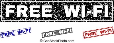 Grunge FREE WI-FI Textured Rectangle Stamps
