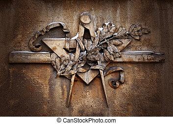 Grunge freemasonry emblem on dramatic background - masonic...
