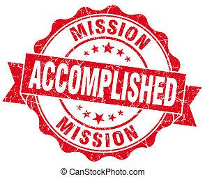 grunge, freigestellt, mission, vollendet, siegel, weiß rot
