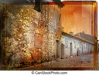 grunge french street - vintage picture of a rustic french...