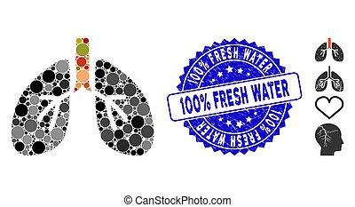 grunge, fresco, 100%, sello, pulmones, collage, icono, agua
