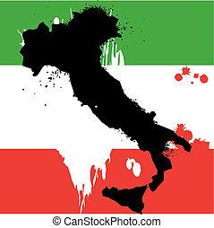 grunge, frontière, ligne, de, pays, italie