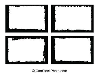 grunge, frontières, image, photo., ou, cadres, vecteur, format.