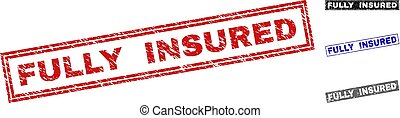 Grunge FULLY INSURED Textured Rectangle Watermarks