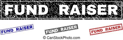 Grunge FUND RAISER rectangle stamp seals isolated on a white background. Rectangular seals with grunge texture in red, blue, black and grey colors.