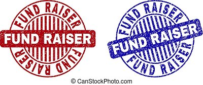 Grunge FUND RAISER round stamp seals isolated on a white background. Round seals with distress texture in red and blue colors.