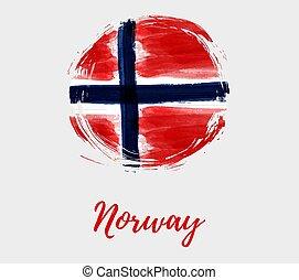 grunge, fundo, bandeira, noruega, redondo