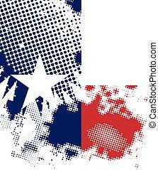 grunge, fundo branco, estado, texas, halftone, bandeira