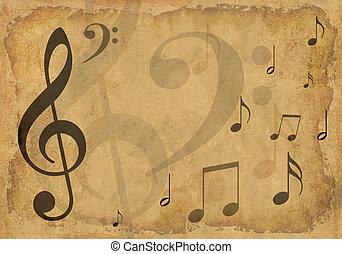 grunge, fundo, com, musical, símbolos