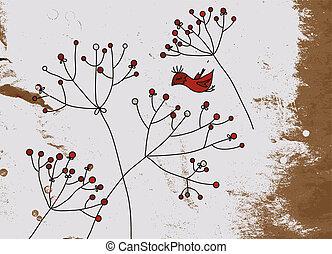 grunge, fundo, com, pássaros, e, flor, desenho