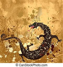 grunge, fundo, dragão