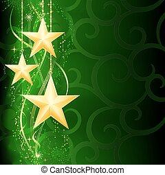 grunge, fundo, neve, elements., natal, festivo, dourado, verde, escuro, estrelas, flocos