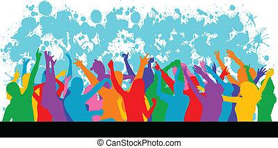 grunge, fundo, party-