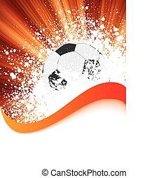 grunge, futebol, cartaz, com, futebol, ball., eps, 8