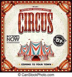grunge, fyrkant, cirkus, affisch