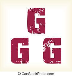 grunge, g, -, empattement, vecteur, lettre