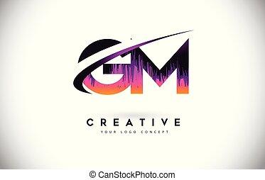grunge, g, viola, vibrante, m, creativo, logotipo, colori, vettore, lettera, vendemmia, lettere, gm, design.