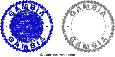 Grunge GAMBIA Scratched Stamps