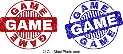 Grunge GAME Textured Round Stamp Seals