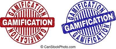 Grunge GAMIFICATION Textured Round Stamp Seals