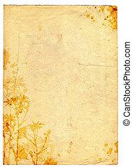 grunge, gammal, papper, blommig, bakgrund